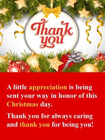 I Appreciate You Christmas Thank You Card Birthday Greeting Cards By Davia Christmas Thank You Thank You Cards Birthday Greeting Cards