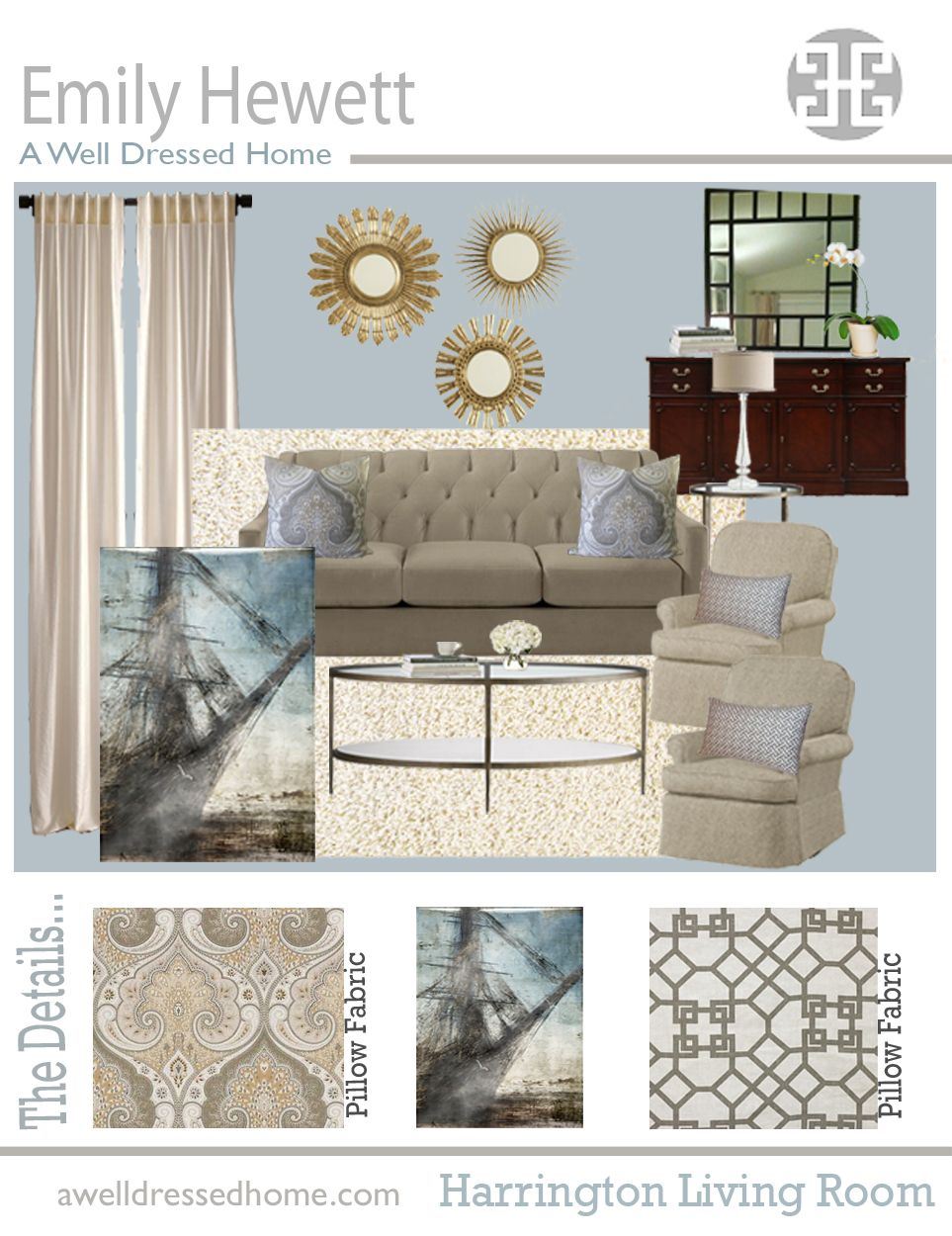 Design Rooms Online Harrington Living Room Online Design Board By Emily Hewett Of A