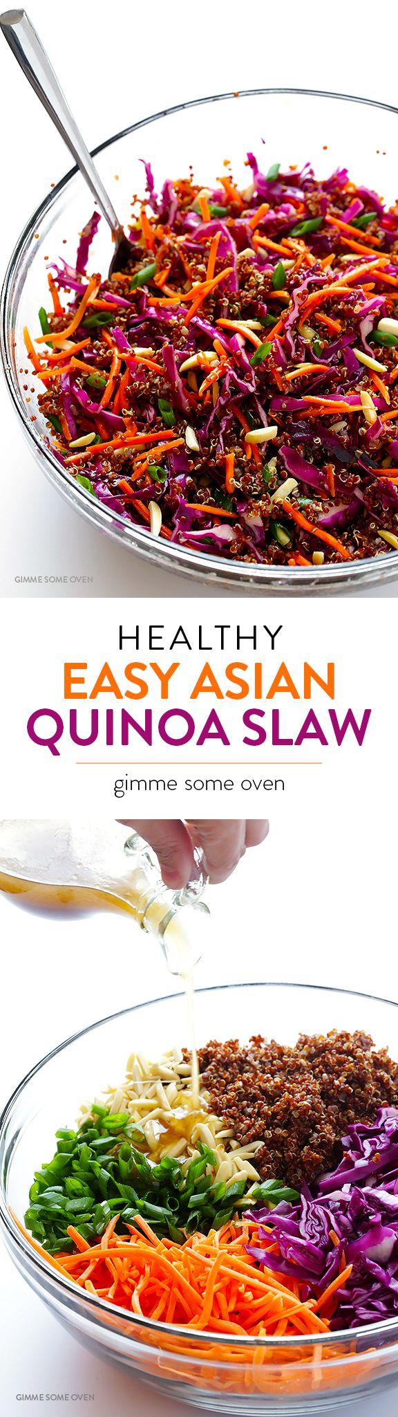 Easy Sesame Quinoa Slaw Gimme Some Oven Recipe Healthy Whole Food Recipes Asian Quinoa Salad