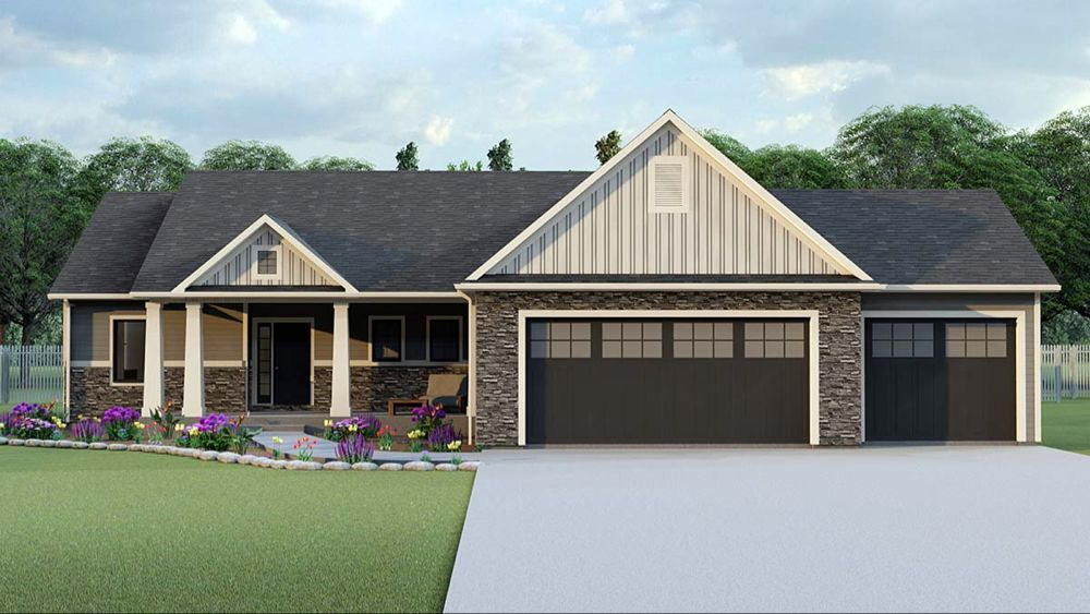 Ranch Style House Plan 50719 With 3 Bed 2 Bath 3 Car Garage Basement House Plans House Plans Garage House Plans