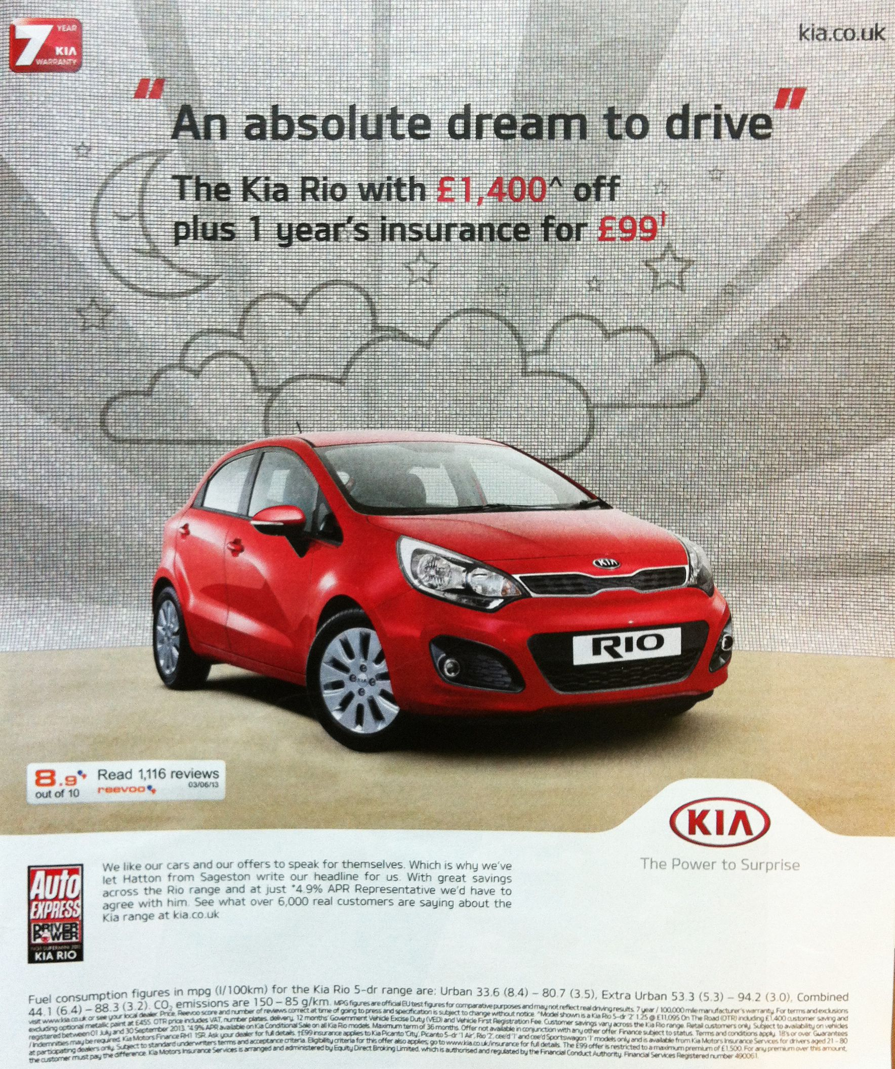 Reevoo ratings on a #Kia ad published in The Guardian ...