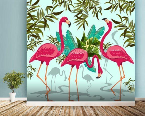 Tropical Pink Flamingos in 2020 Flamingo wallpaper, Pink