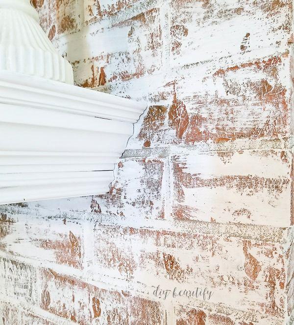 Using Chalk Paint to Update a Brick Fireplace #whitebrickfireplace