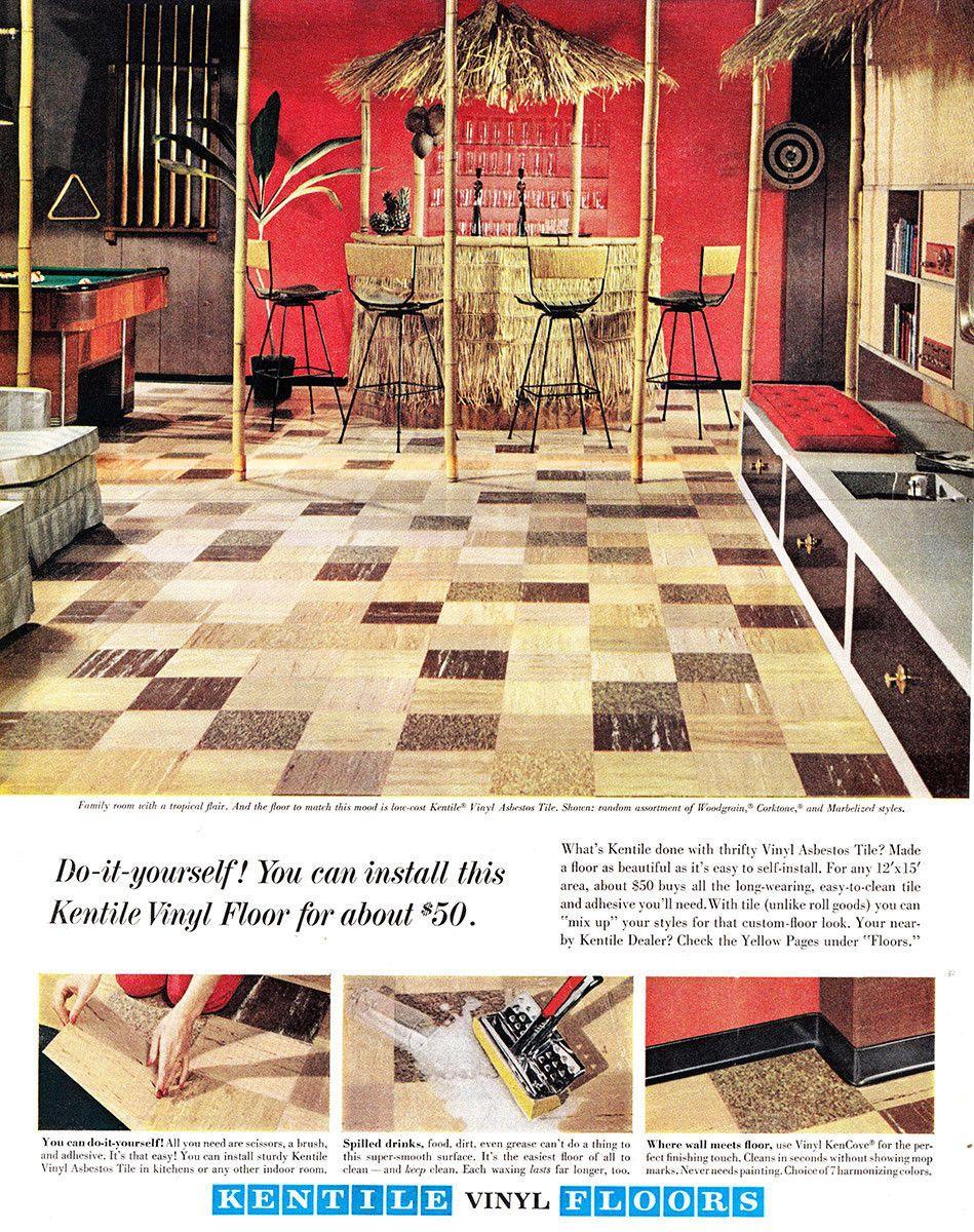 1962 Kentile Vinyl Floors Tropical Flair Vintage Print Ad