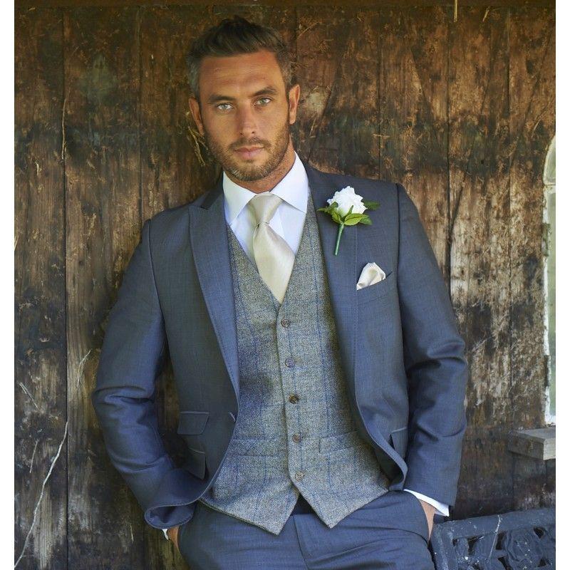 Tweed Brown / Royal Waistcoat (236) Wedding suits groom