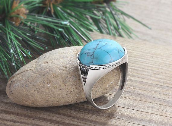 Mens Silver Ring Turquoise ring 6 to 14 sizes 925 by ATAjewels