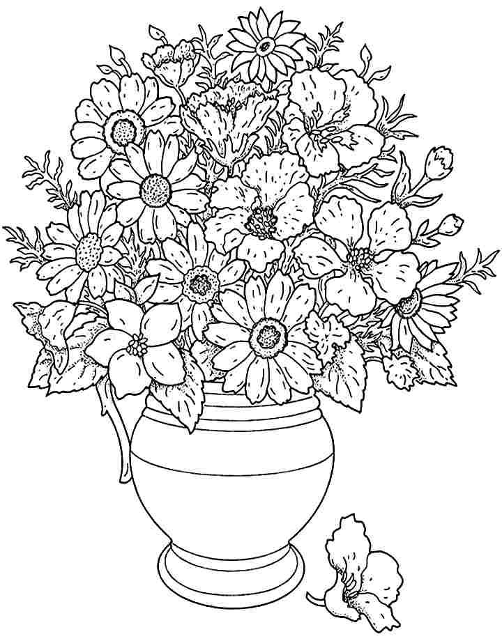 Bouquet Flowers Coloring Sheets Printable Free For Little Kids ...