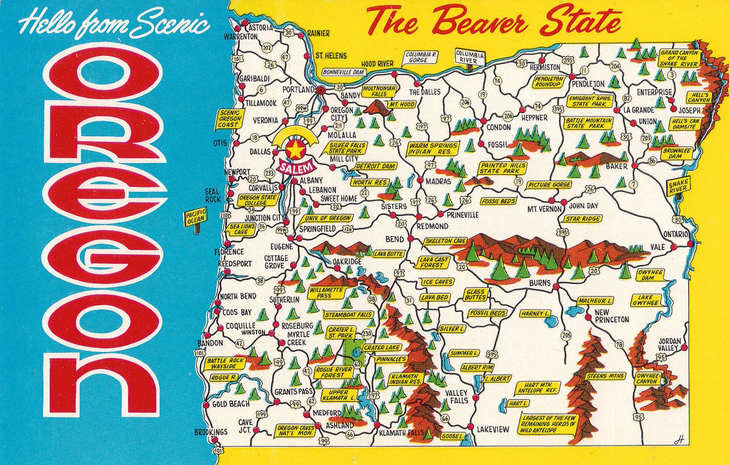 Vintage Hello From Scenic Oregon Postcard With Map The Beaver - Map of oregon state usa