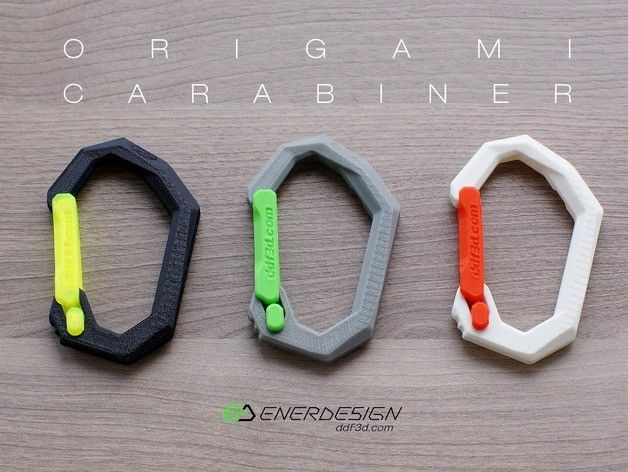 Thingiverse 3D printed models origami carabeeners | detail