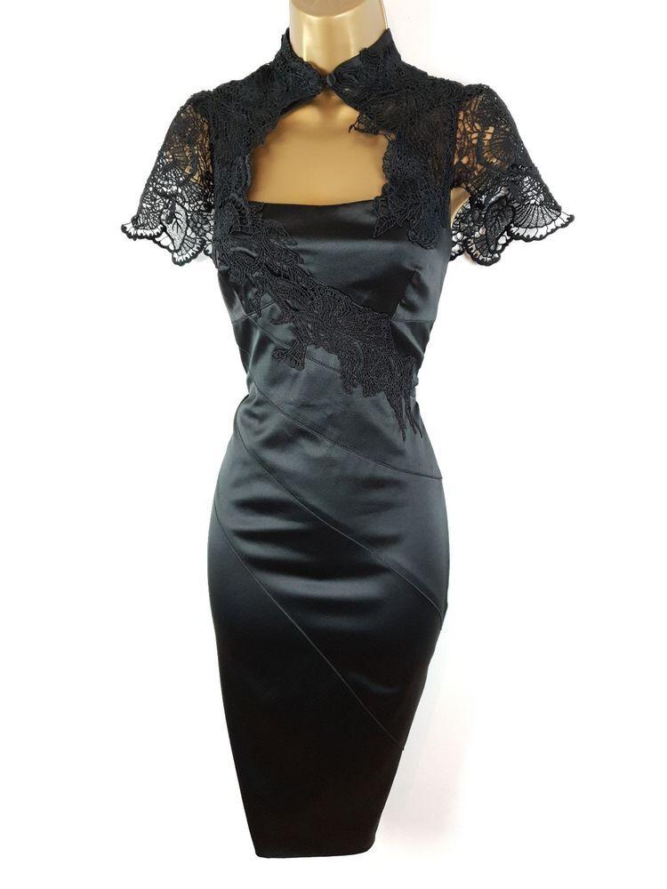 KAREN MILLEN Black Satin Lace Victorian Bocycon Christmas Party Dress UK 12   fashion  clothing  shoes  accessories  womensclothing  dresses (ebay link) 0c653d514