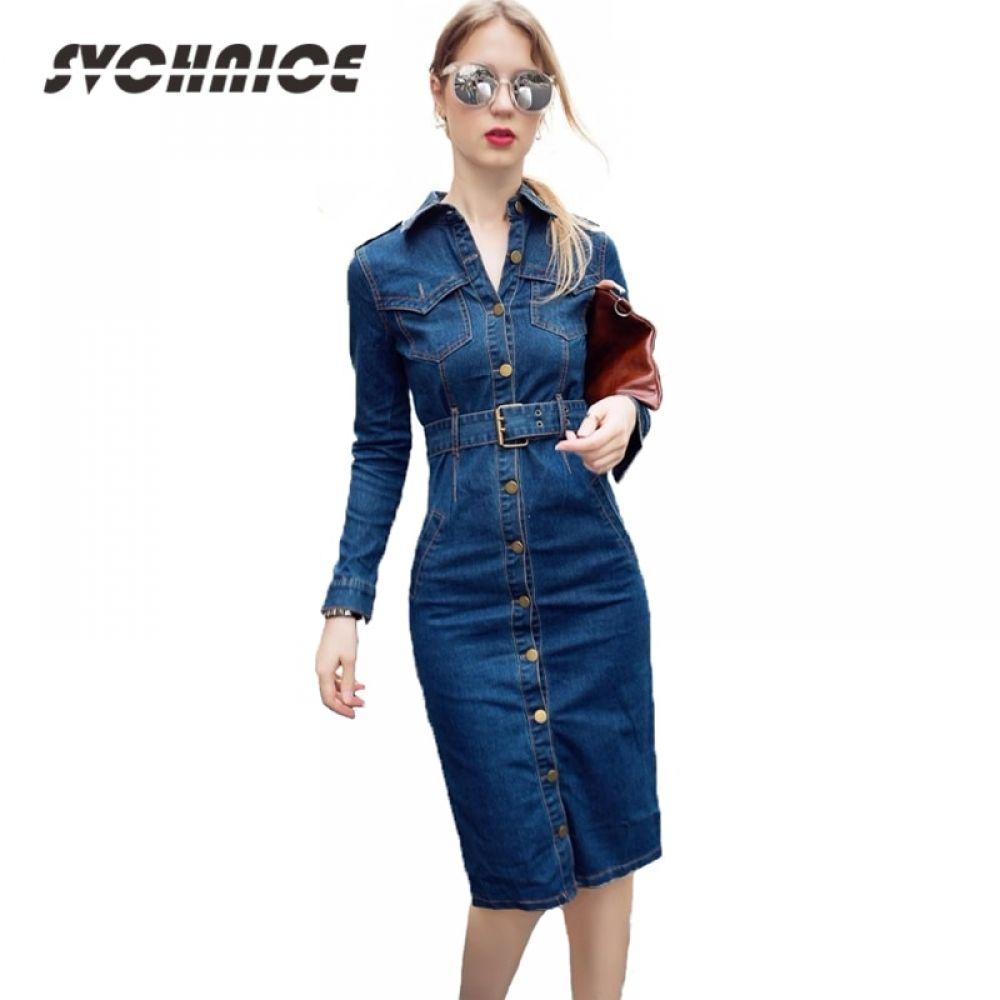 OL Office Sexy Denim Dress Plus Size 3XL 4XL Long Sleeve Jeans Dress Women  Bodycon Dress Pencil Vestido Jeans Feminino Price  53.50   FREE Shipping    ... e091d3c5c68a