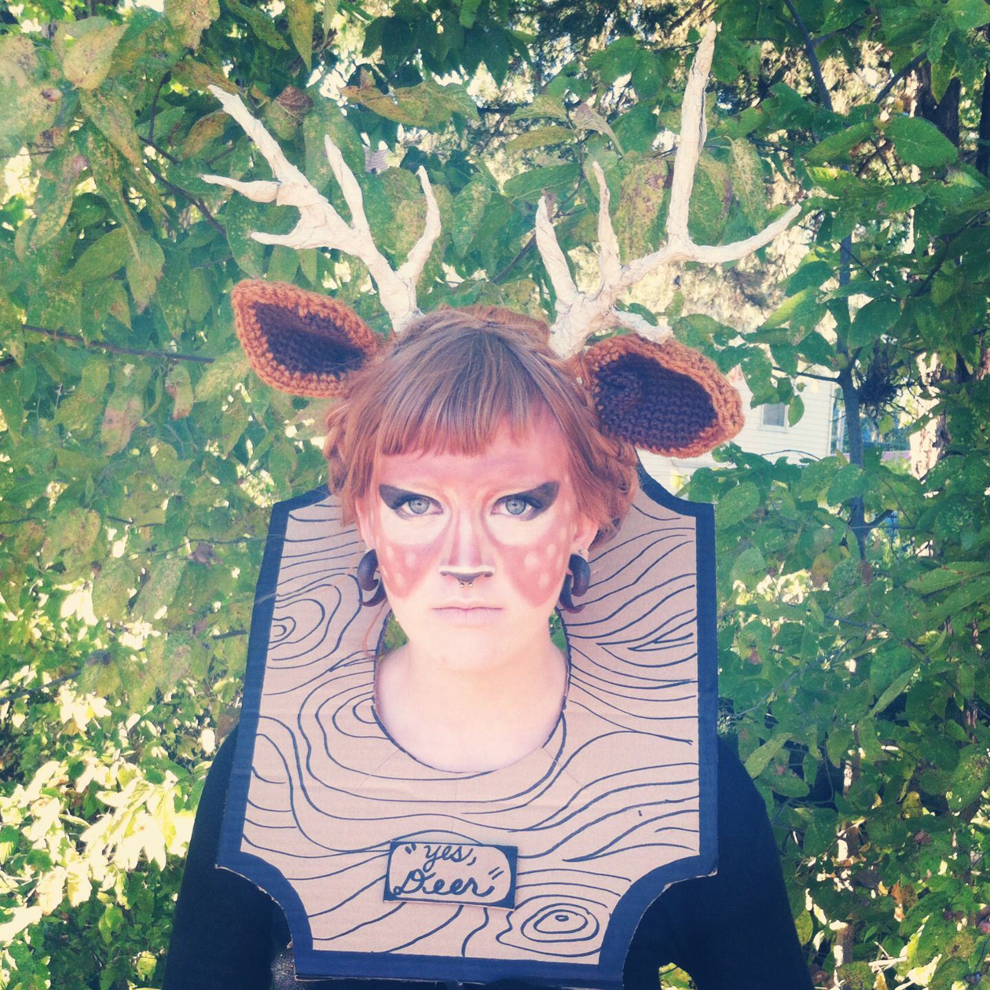 Taxidermy deer head costume antlers made from pipe cleaners and lots of inspiration diy makeup tutorials and all accessories you need to create your own diy taxidermy trophy costume for halloween solutioingenieria Images