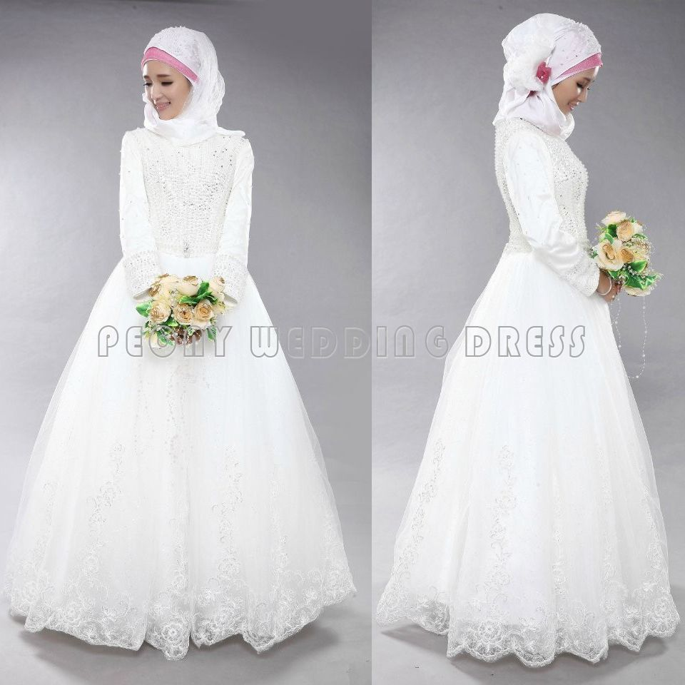 Find a Beading Lace Tulle Long Sleeve Muslim Wedding Dresses A ...