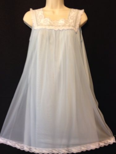 27d44e411 Vintage Babydoll Nightgown Gown Sheer Nylon Chiffon Sissy Lace Soft Blue  510