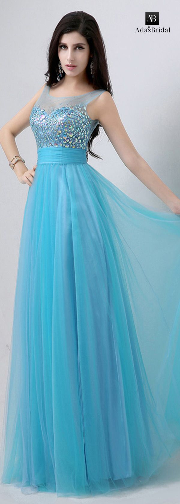 In stock fabulous tulle scoop neckline A-line prom dresses with ...