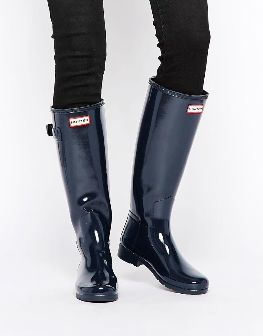 Hunter+Original+Refined+Gloss+Midnight+Adjustable+Wellington+Boots ...