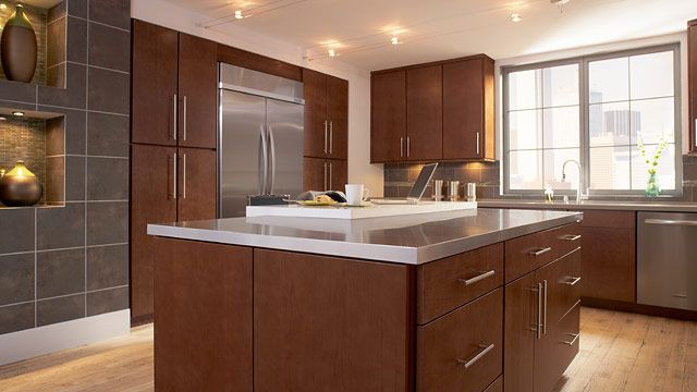 Modern Cherry Kitchen Cabinets lausanne cherry spice slab kitchen | timberlake cabinetry | our