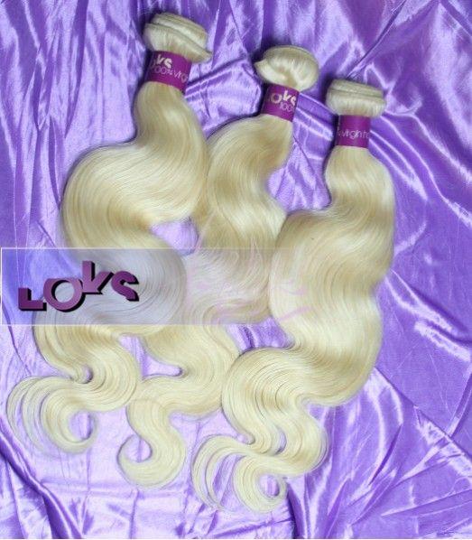 Russian body wave human hair #613 light blond hair weave 1bundle. price: $58.55