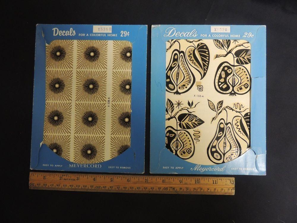 Vintage Meyercord Decals 2 pc Black Gold Fruit Geometric1950's  Mid Century Mod  #Modern