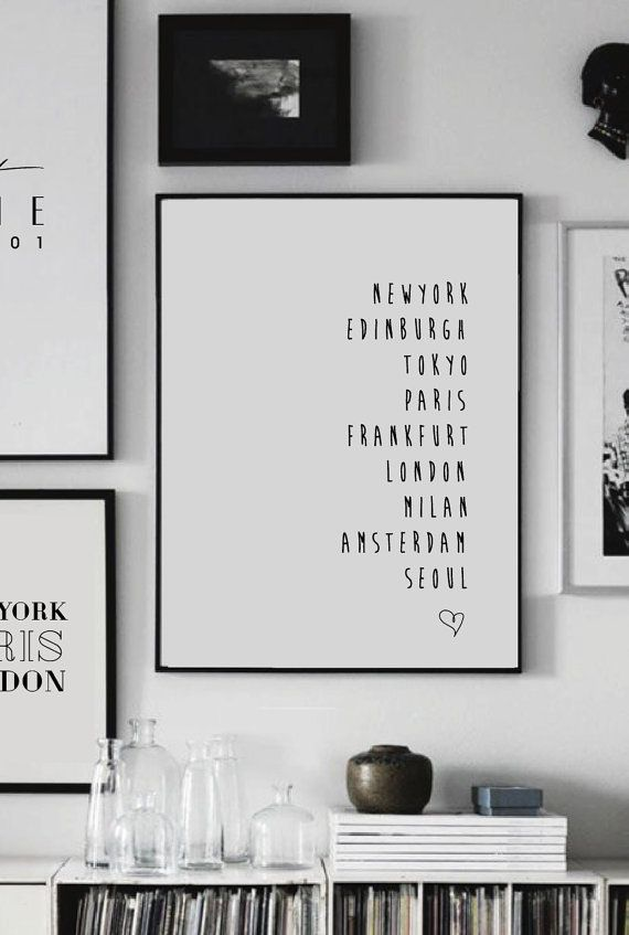 Paris newyork london custom city print scandinavian print wall art city print home decor custom city letter print