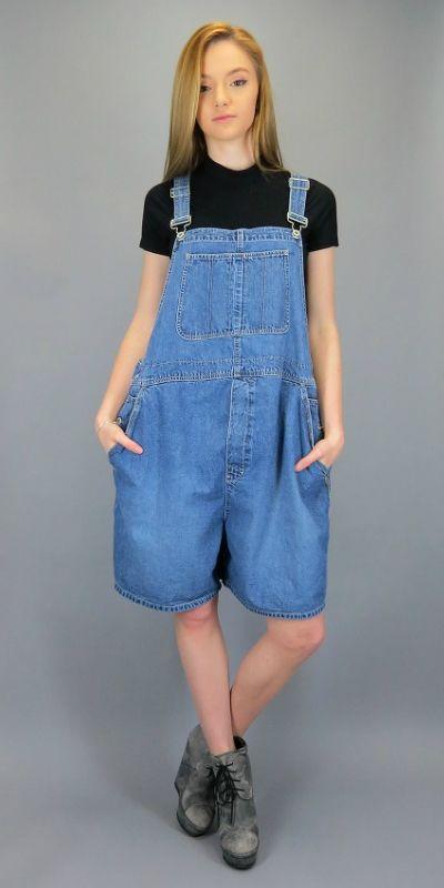 37dbca326e0 Vintage GAP Overall Suspender Shorts Blue Jean Shortalls Bib Overalls Baggy  Oversized Industrial Denim Slouch Grunge Romper Jumper by BlueFridayVintage  on ...