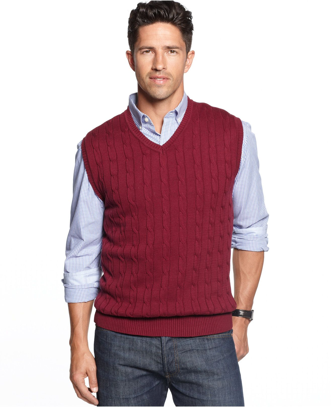 Club Room Solid Cable-Knit Sweater Vest - Sweaters - Men - Macy's ...