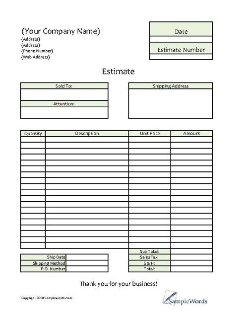 Estimate - Printable Forms \ Templates Business, Microsoft excel - estimate invoice template