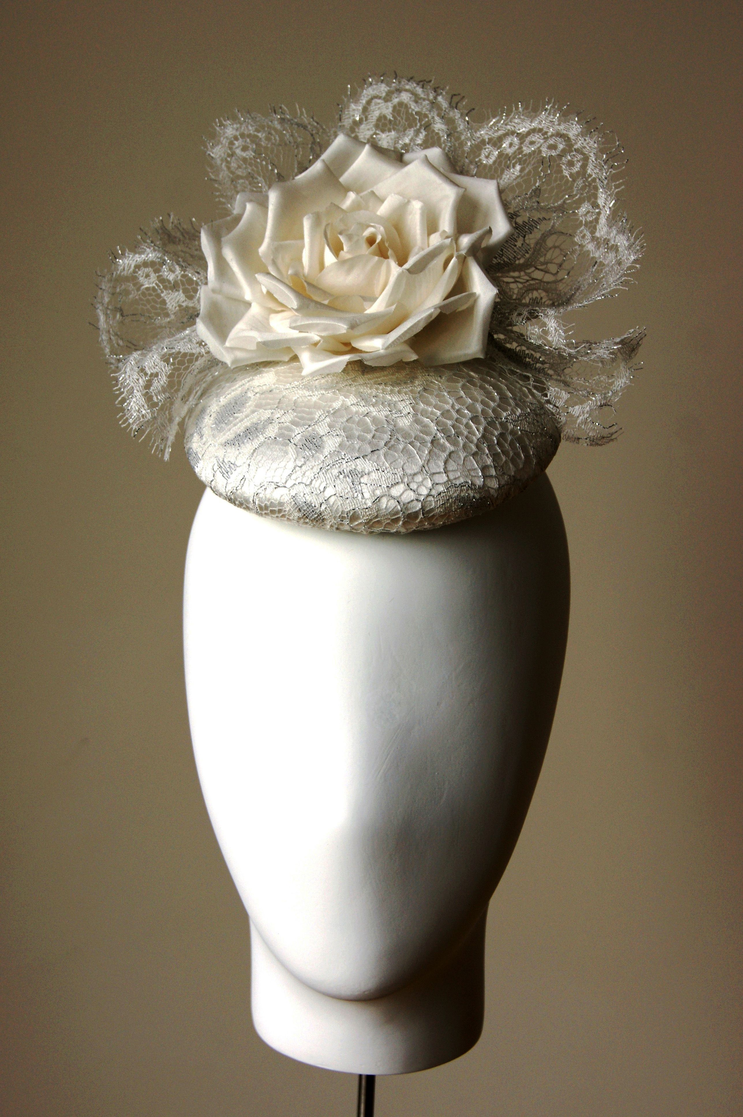 LOTTIE - Esther-Louise ivory and silver lace button hat.