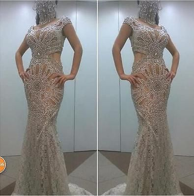 d97a768683299 2017 Crystal Beading Long Evening Dress Luxury Mermaid Celebrity Party Prom  Gown