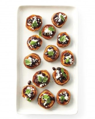 Sweet Potato Rounds Unpeeled sweet potatoes Spicy black beans Crumbled cotija cheese Cilantro leaves Cheese (optional) Chutney, salsa, or pesto (optional)