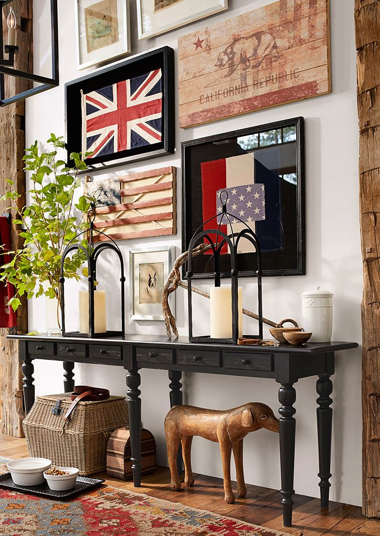 Classic entryway with perfectly placed flag wall decor for Classic foyer design