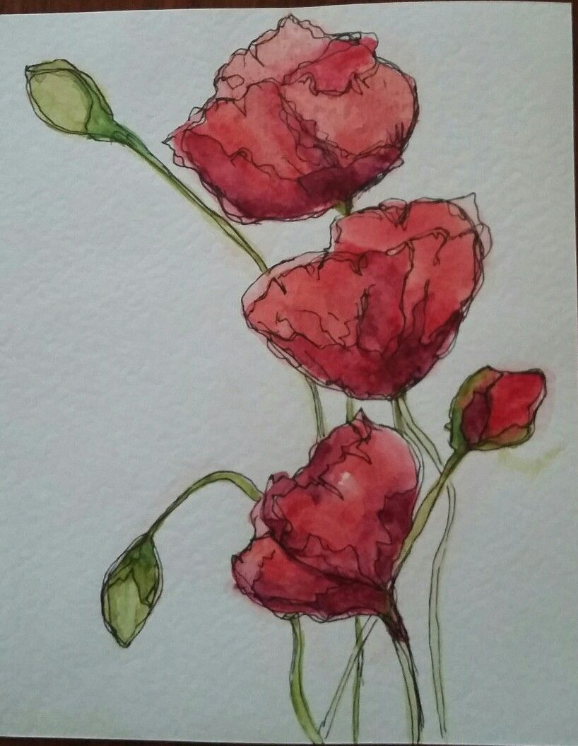 Watercolour And Pen Watercolor Flowers Tutorial Watercolor