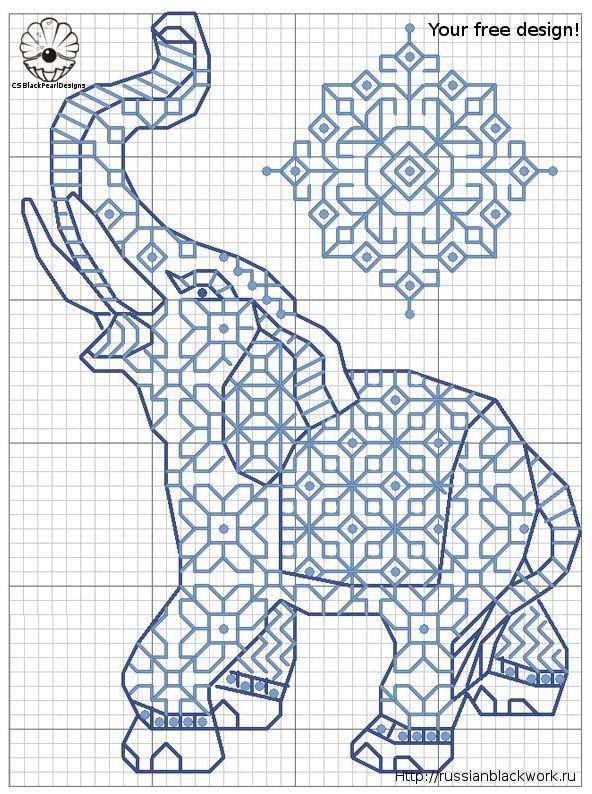 blackwork - Bing Images | elephants | Bordado, Punto de cruz, Punto