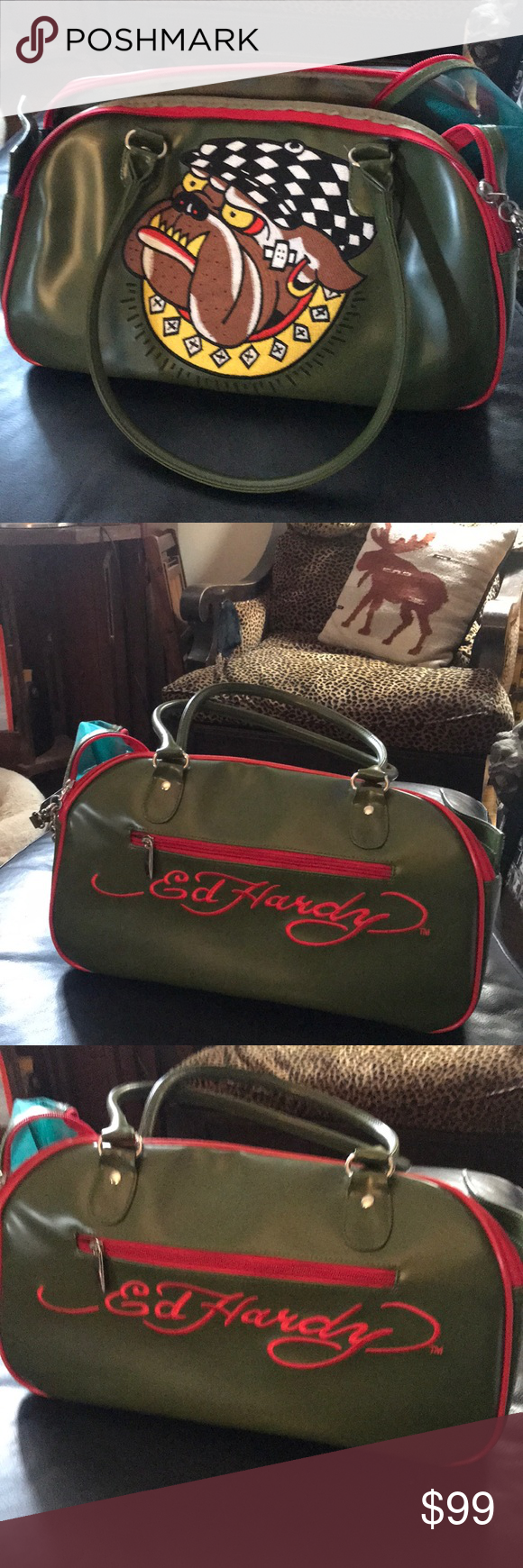 Ed Hardy doggy Carrier Ed Hardy olive green brand new never used doggy  carrier absolutely beautiful d5a69c4e55