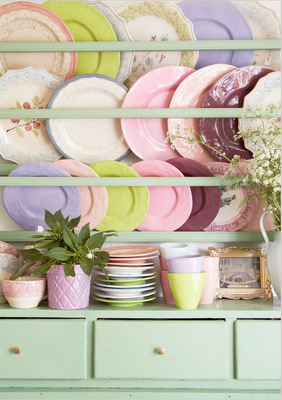 This vintage plate rack pairs both the ultra trendy soft pastels for summer with the vintage rack design seamlessly! & I\u0027m wondering: can one get away with mismatched chairs AND ...