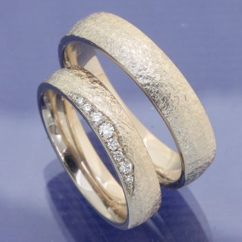 Photo of Moonlight wedding rings with hammer blow