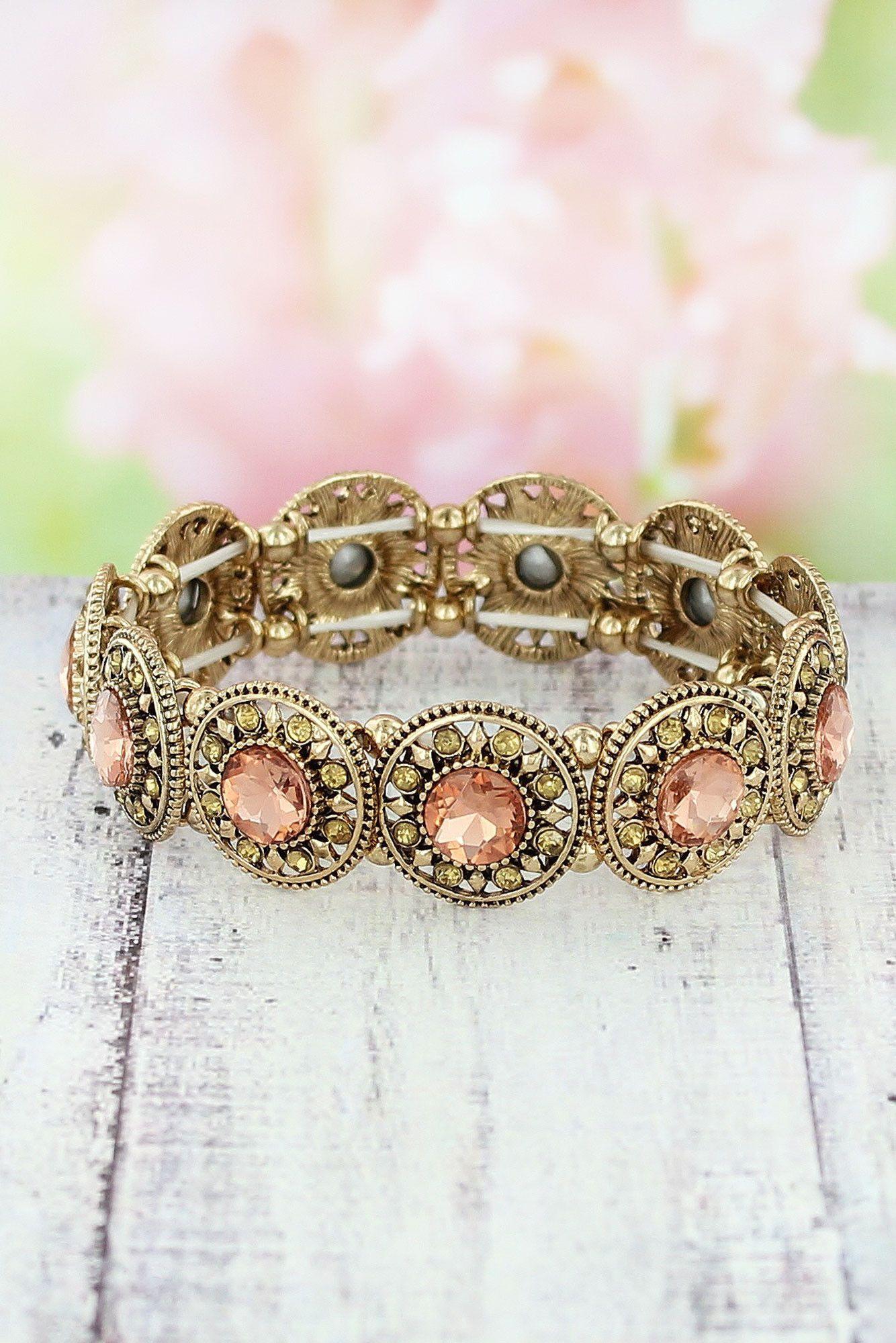 Peach Crystal and Antique Goldtone Disk Stretch Bracelet #VB0429-AGPCH