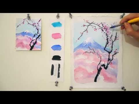 d9f683a3f Step by step watercolor tutorial: Cherry Blossom and Mount Fuji - YouTube