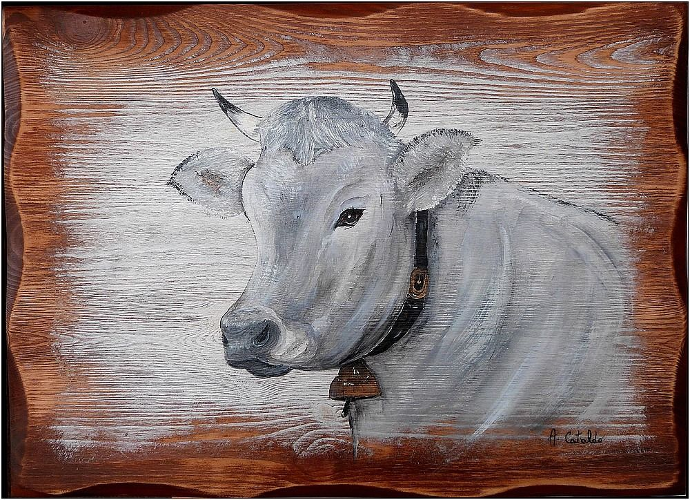 tableau peinture vache schwyz deco chalet peintures par peinture chalet montagne toile sur. Black Bedroom Furniture Sets. Home Design Ideas