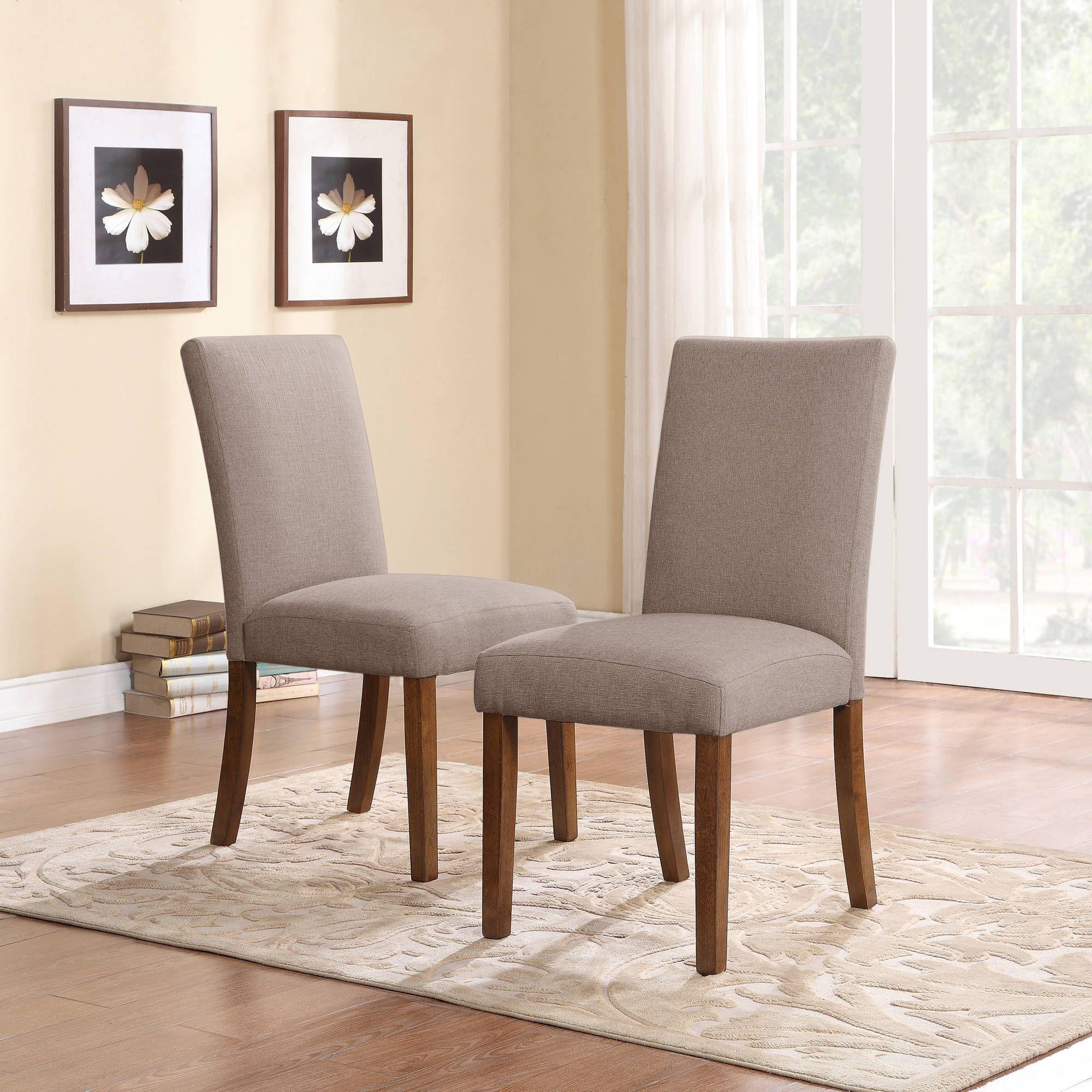 Nice Dorel Living Linen Parsons Chair, Set Of 2, Dark Pine With Gray Seats