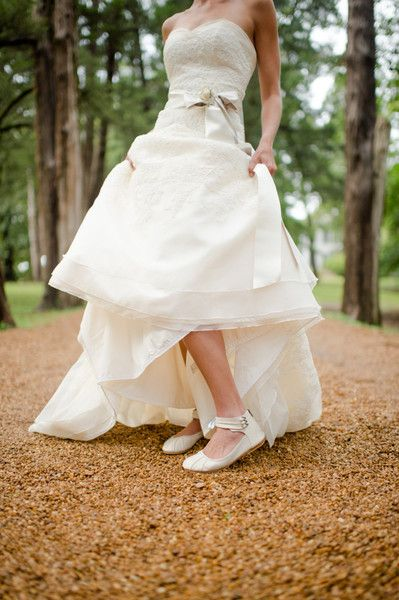 Pics please! Tea-length dresses with flats/low heels - Weddingbee