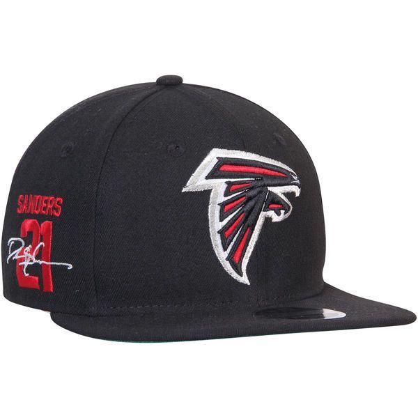 3eacdbd9 Men's Atlanta Falcons Deion Sanders New Era Black Signature Side ...