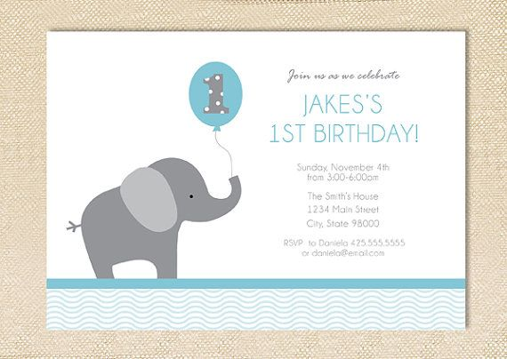 Elephant Birthday Invitation Set Of 12 Ashtons 1st Birthday