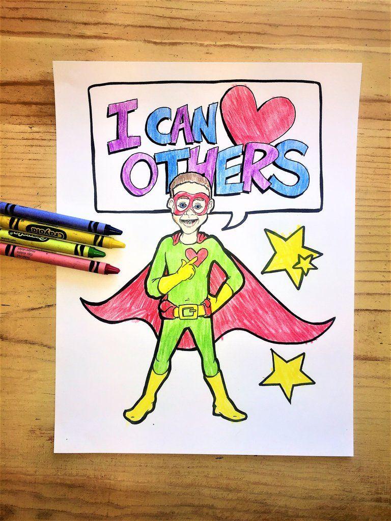 Free superhero boy coloring page