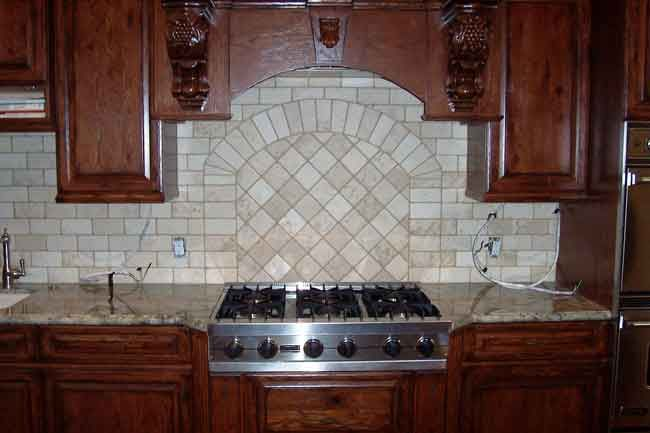 Picture#1 (Backsplash With Arch) Travertine Tile Set In A Brick Pattern With