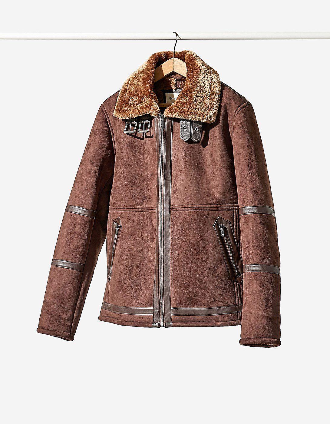 Yakası suni yünlü çift taraflı ceket