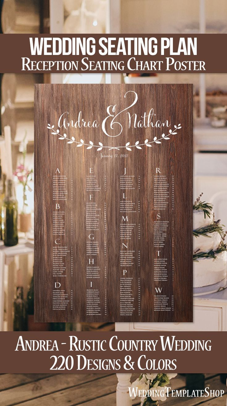 Wedding Seating Chart Poster Rustic Wood Andrea Digital