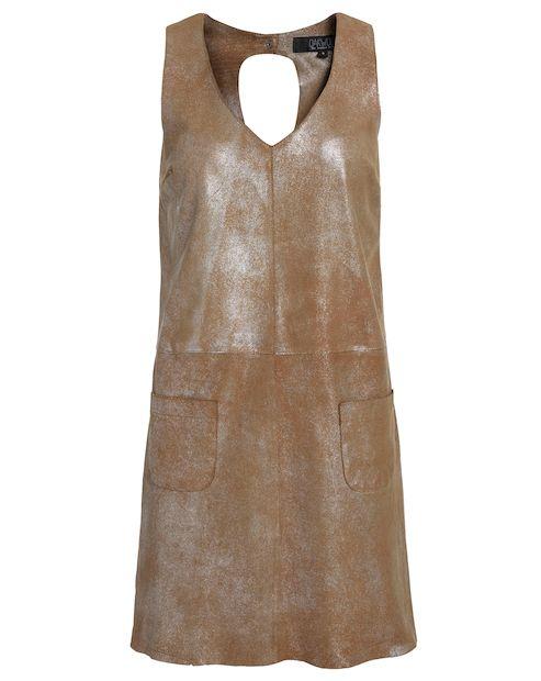 OAKWOOD Lederkleid mit leichtem Silberschimmer - braun Jetzt auf kleidoo.de bestellen! #fashion #oakwood #dress #kleid #braun #leather #lder