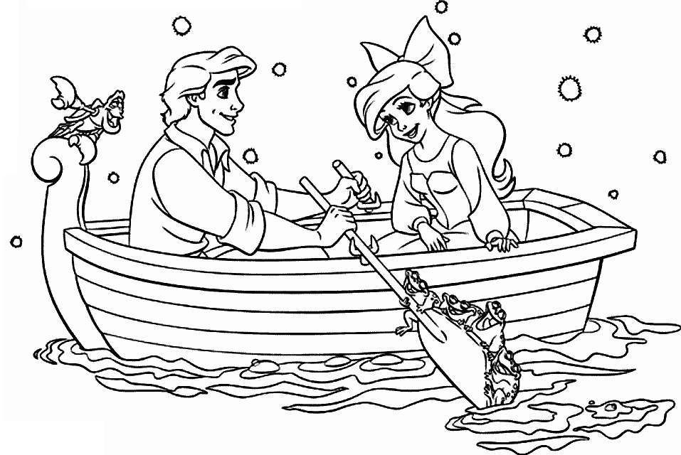 Ariel and Eric on a boat ride Coloring Pages Pinterest Ariel
