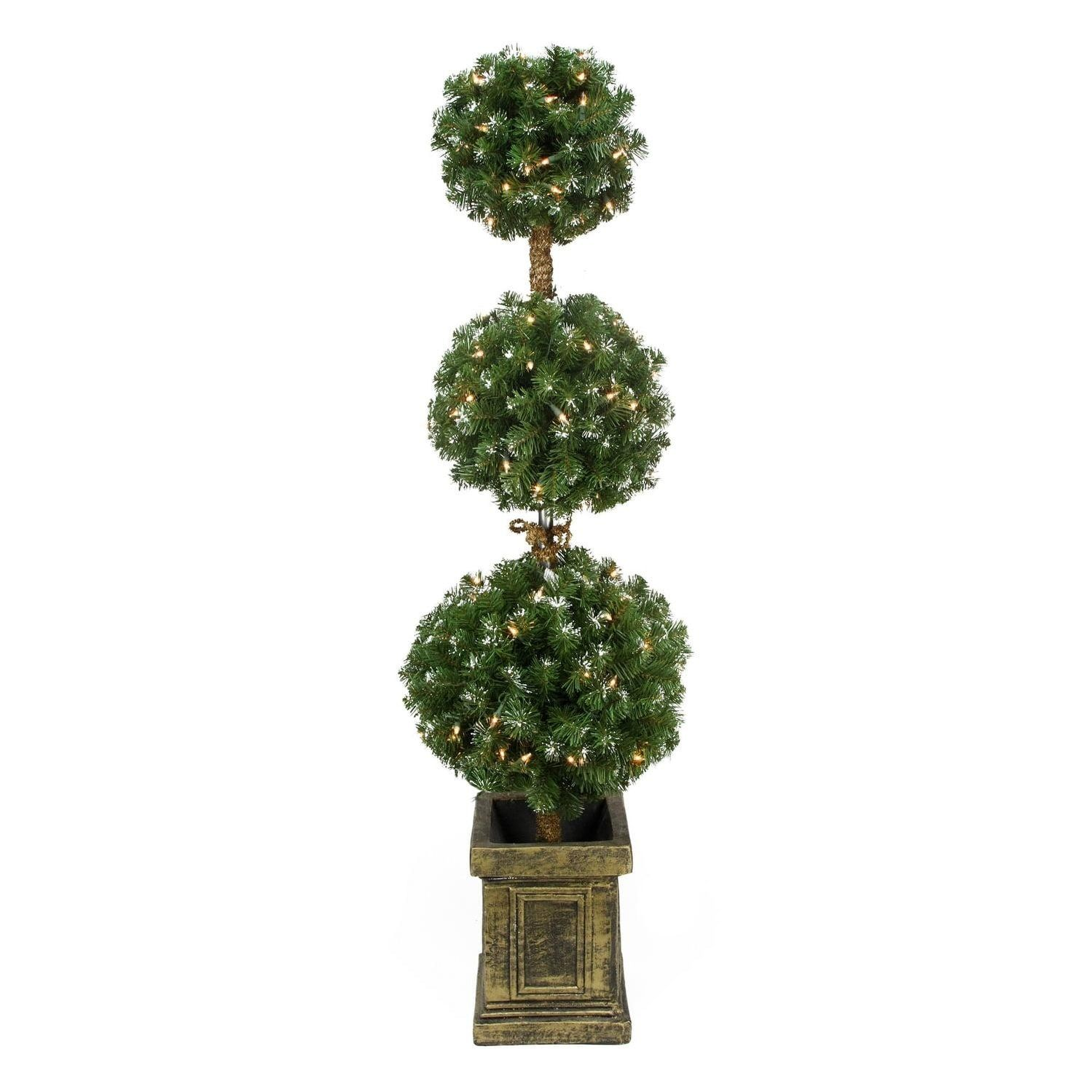 Frosted Slim Christmas Tree: 4.5' Pre-Lit Frosted Triple Ball Artificial Topiary Tree
